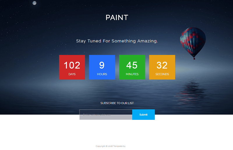 Paint Bootstrap HTML5 Coming-soon Web Template