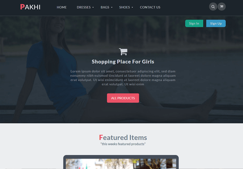 Pakhi a Flat Ecommerce Bootstrap Responsive Web Template