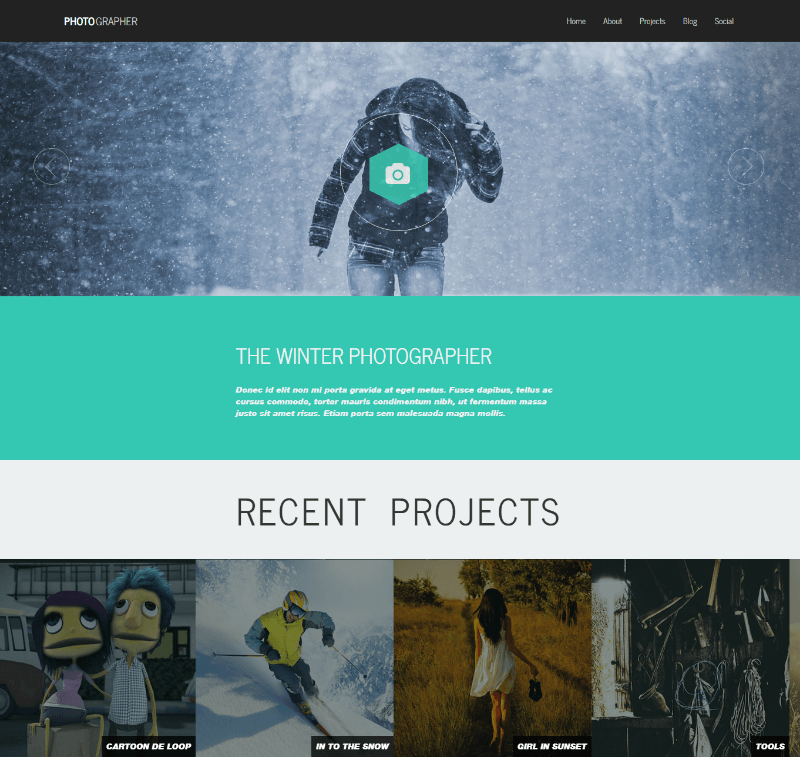 Photographer Plus - A Responsive One Page Photography Website Template