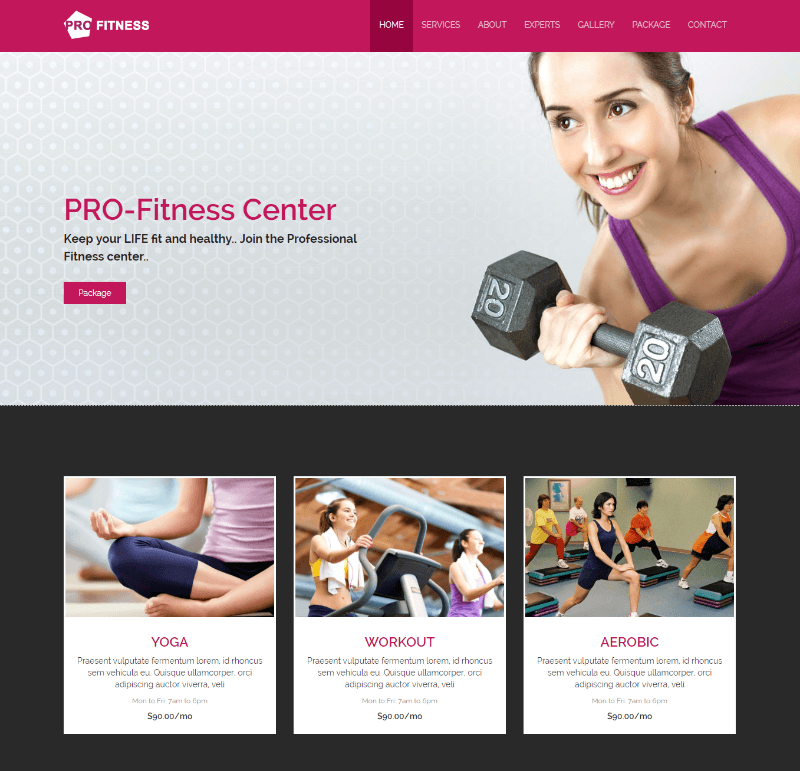 Pro Fitness Center Free HTML5 Web Template