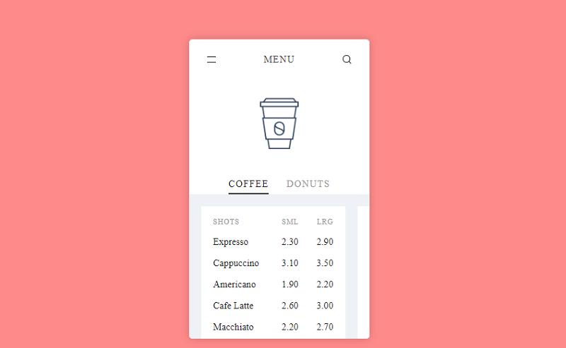 Pure CSS - Menu App