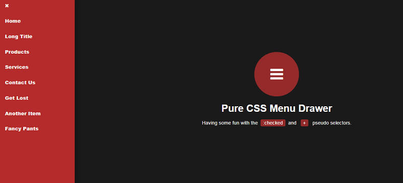 Pure CSS Menu Drawer
