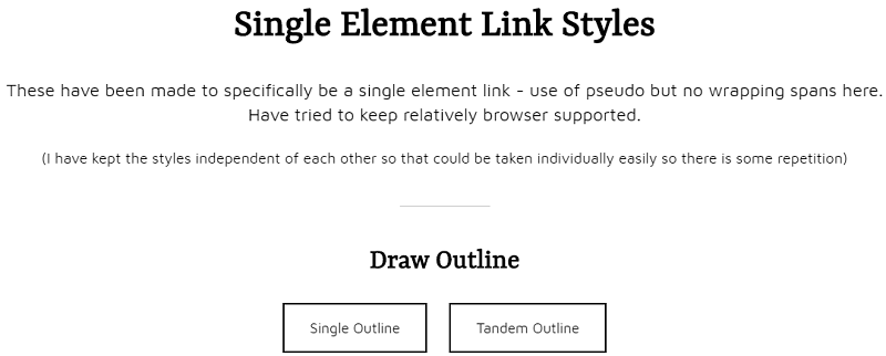 Pure CSS Single Element Link Styles