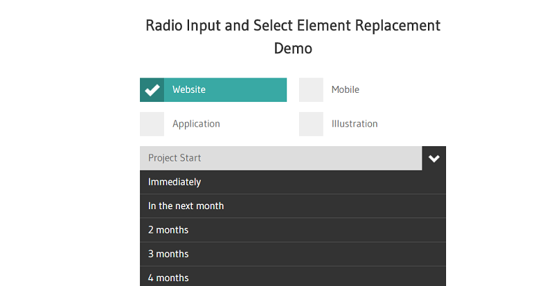 Radio And Select Element Replacement Demo