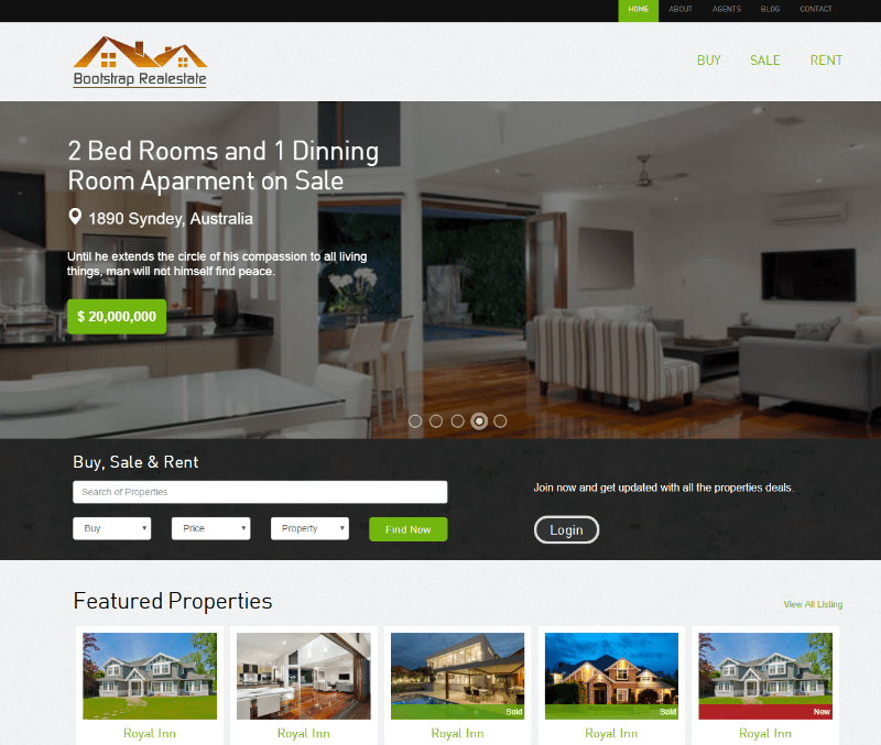 Real Estate Free CSS Template