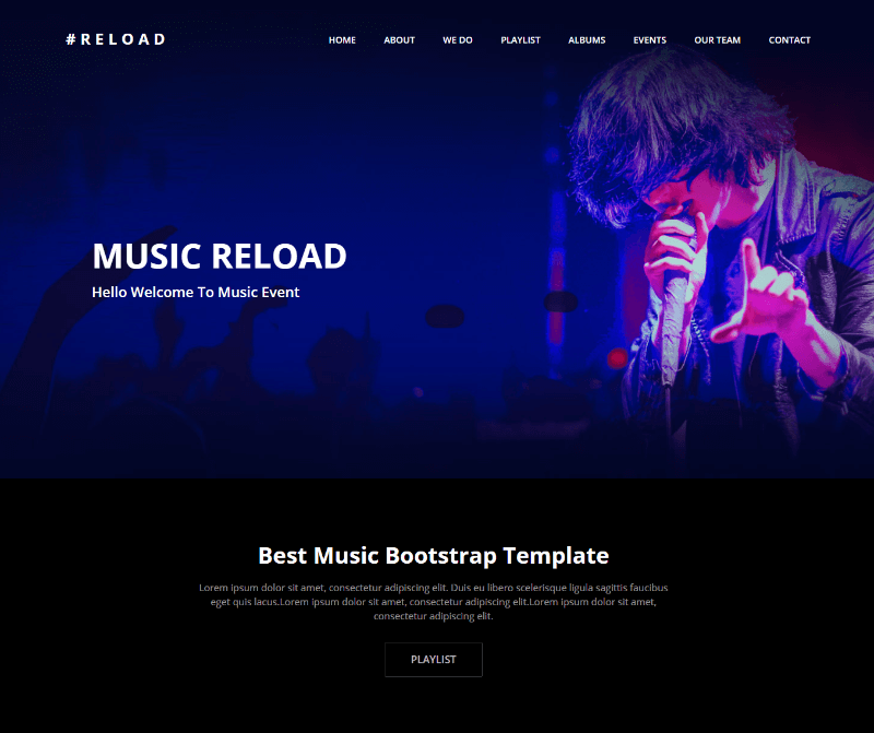 Reload Music Event Bootstrap HTML Template