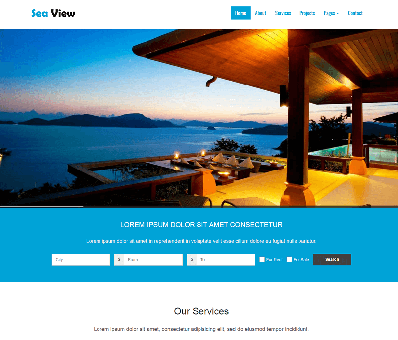 SeaView Free Bootstrap Realestate Web Template