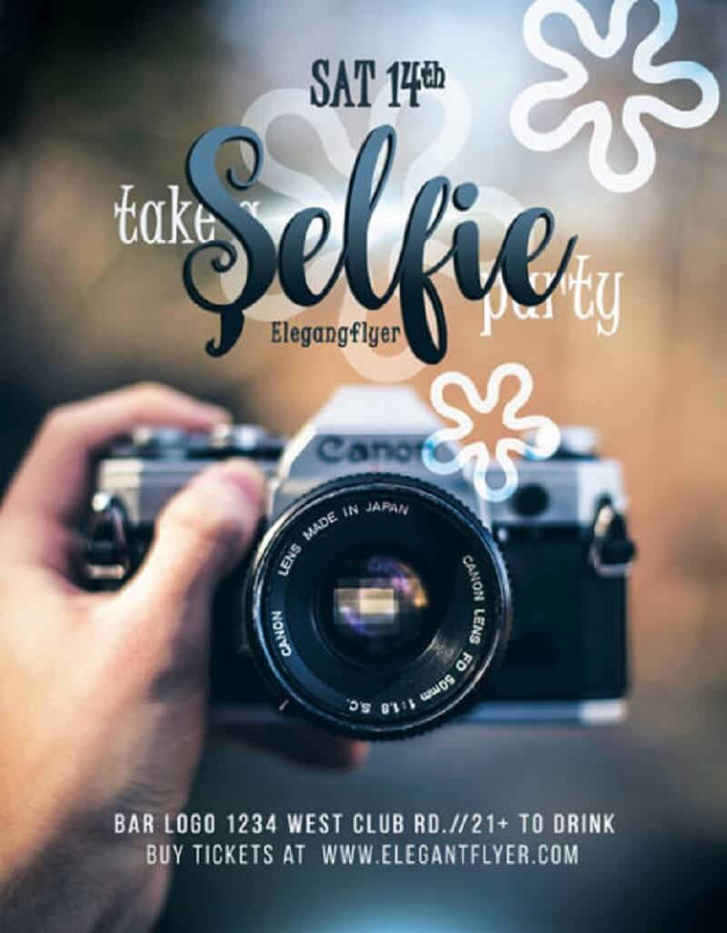 Selfie – Free Flyer PSD Template + Facebook Cover