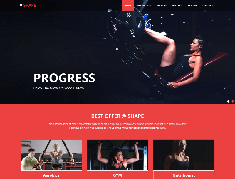 Shape Free Fitness Website Template