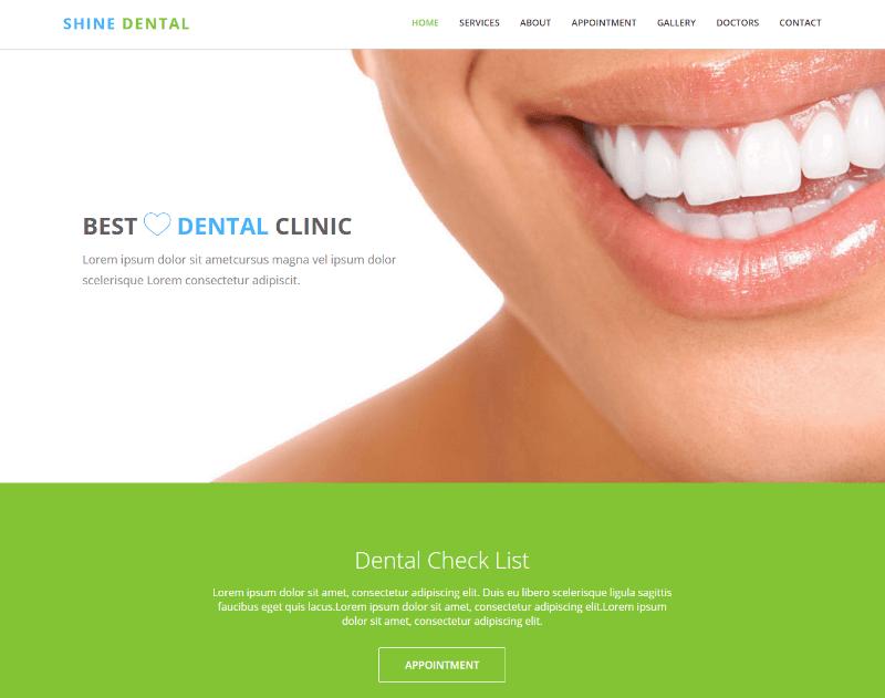 Shine Dental Clinic Html5 Bootstrap Web Template