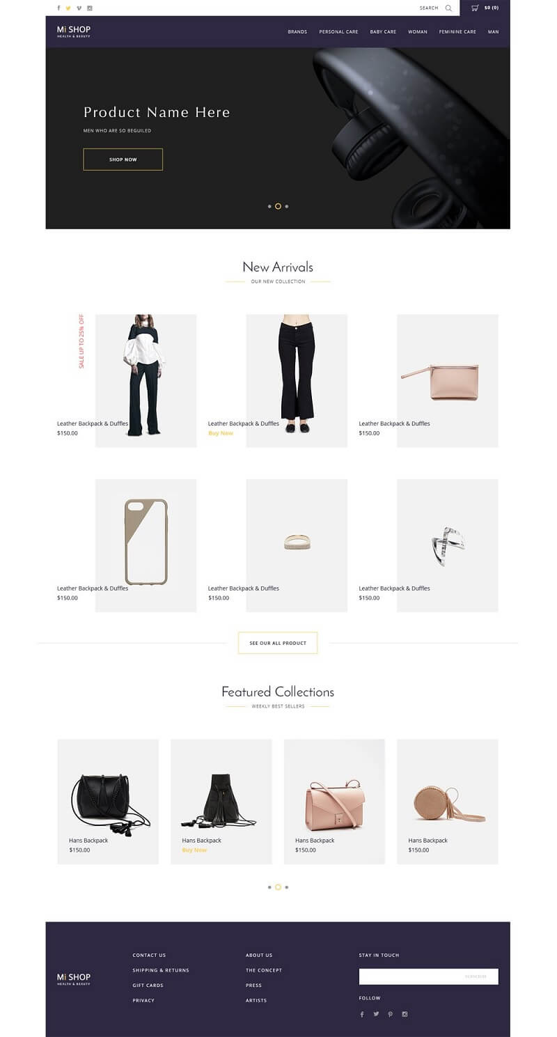 Shop E commerce Web Template PSD