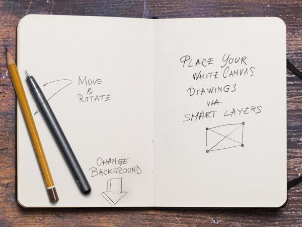 Sketchbook and Pencil Mockup
