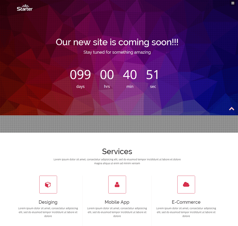 Starter Bootstrap Coming-soon Web Template