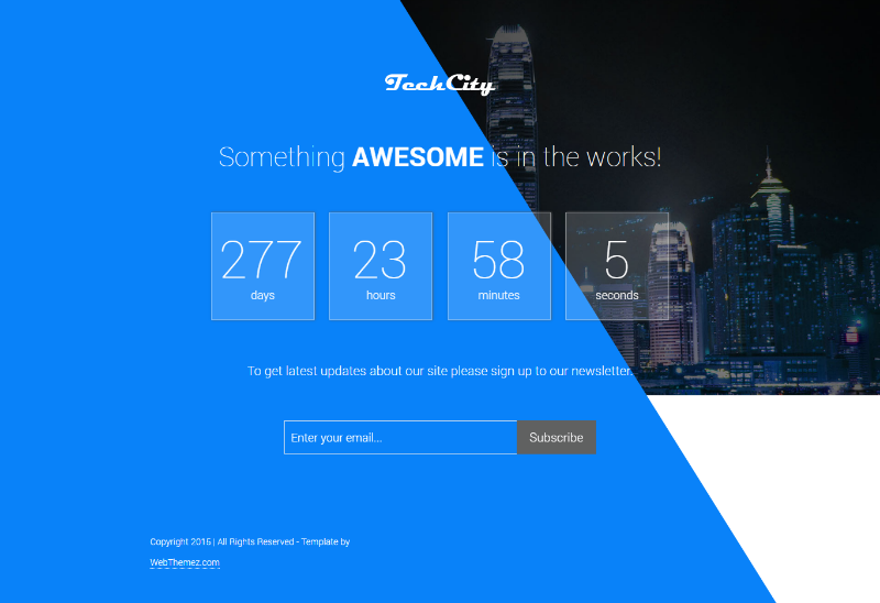Tech City free Coming Soon Bootstrap Responsive Template