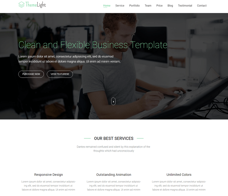 ThemeLight – A free Twitter Bootstrap Business Template