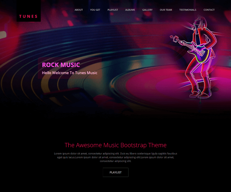 Tunes Music Website Free HTML Template