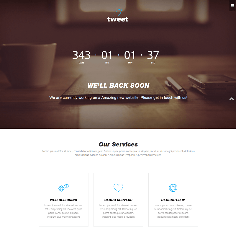 Tweet Coming Soon Materia Design Web Template