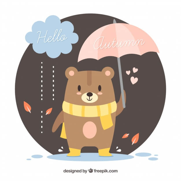 Autumn background with cute bear with scarf and umbrella