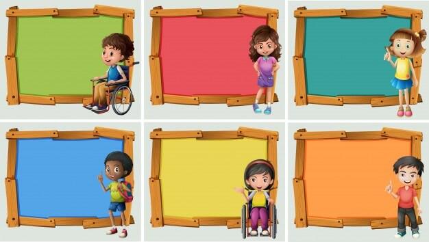 Banner design with many children