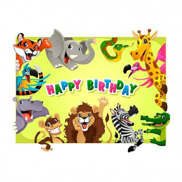 Birthday card with cute animals