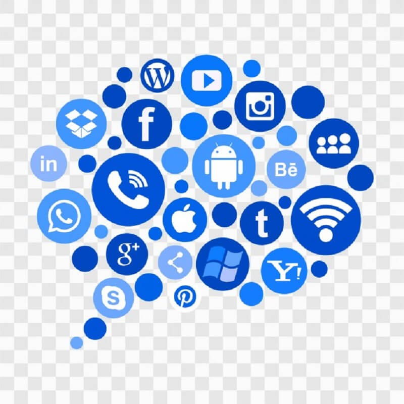Blue social media icons Free Vector