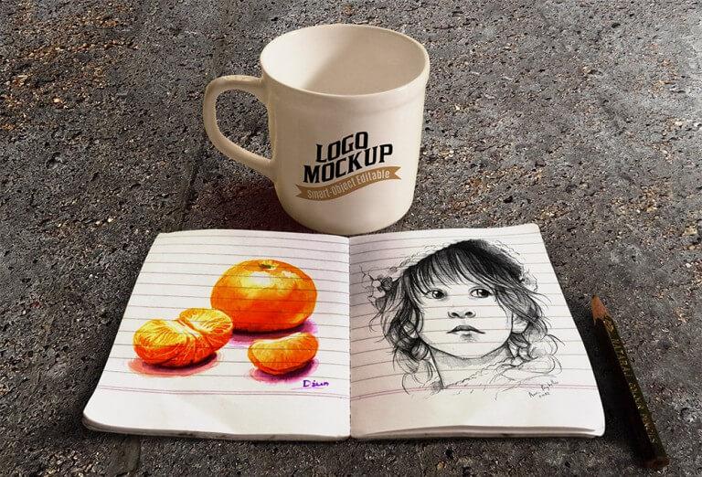 Coffee Cup and Sketchbook Mockup