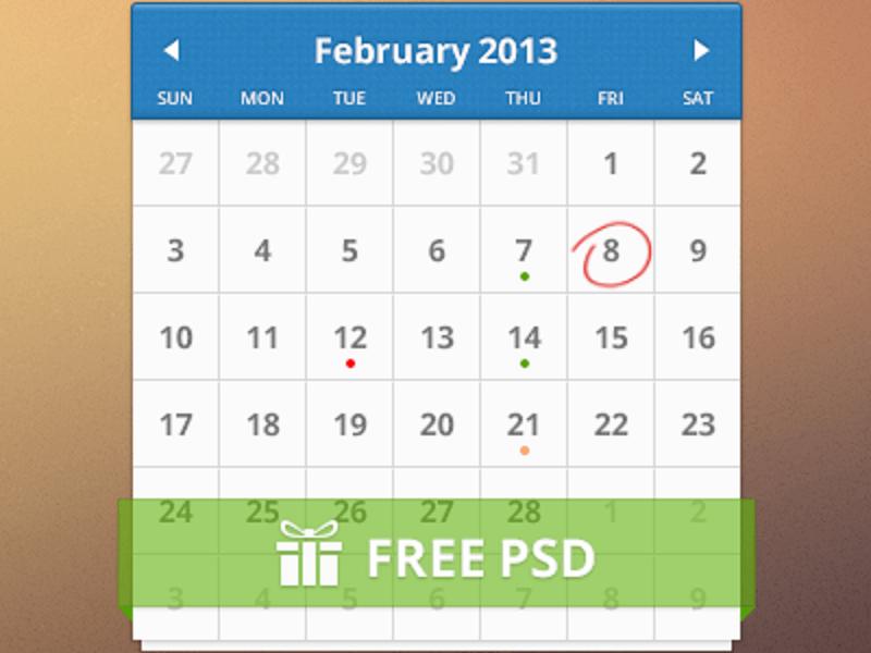[PSD]Free Calendar