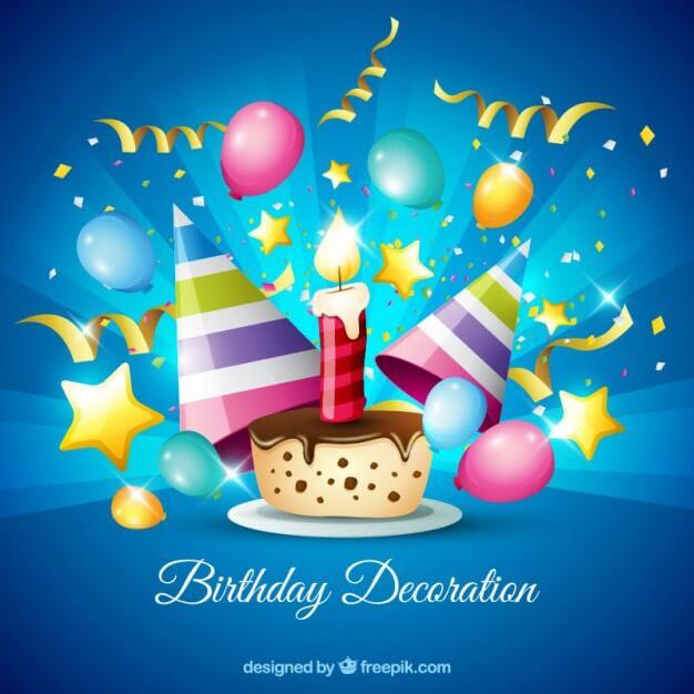 Chocolate cake with birthday decoration