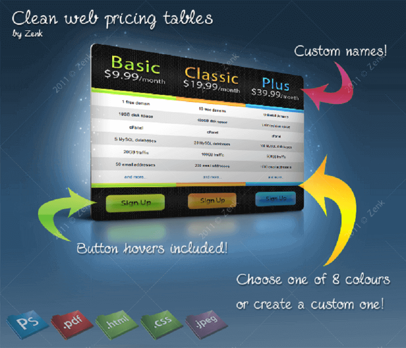 Clean Web Pricing Tables PSD