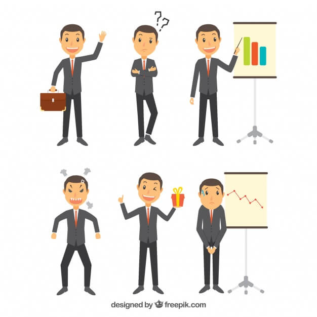 Collection of expressive businessman character in several postures
