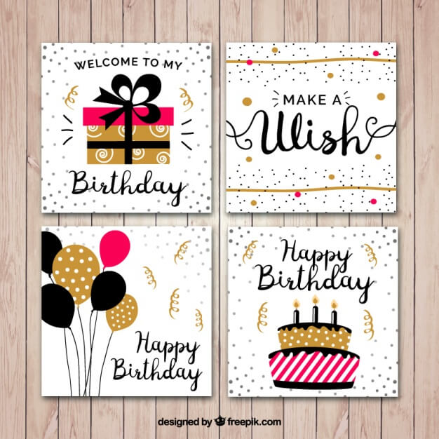 Flat birthday card set