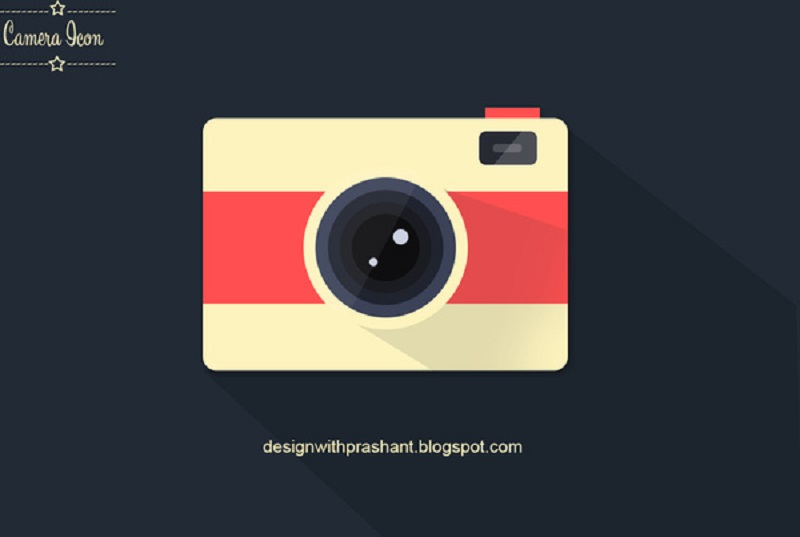 Flat Long Shadow Camera Icon Free Psd