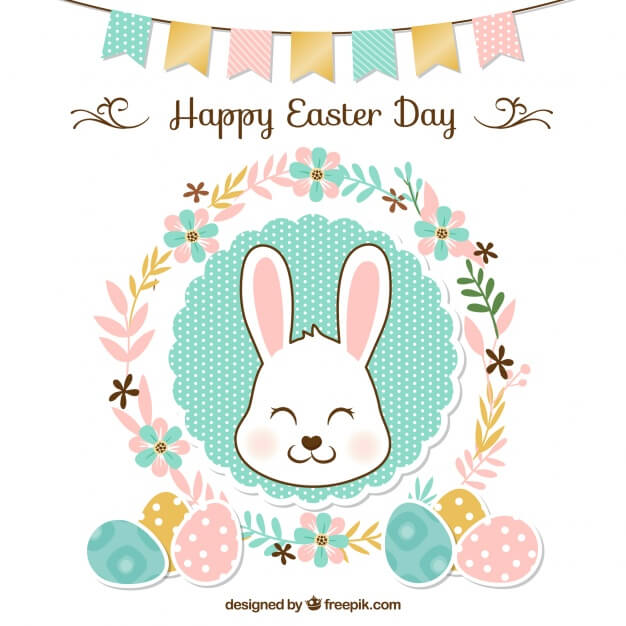 Floral easter background with garland and cute rabbit