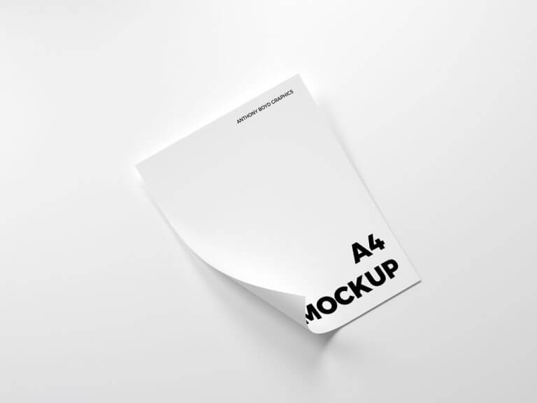 Curled A4 Paper Mockup