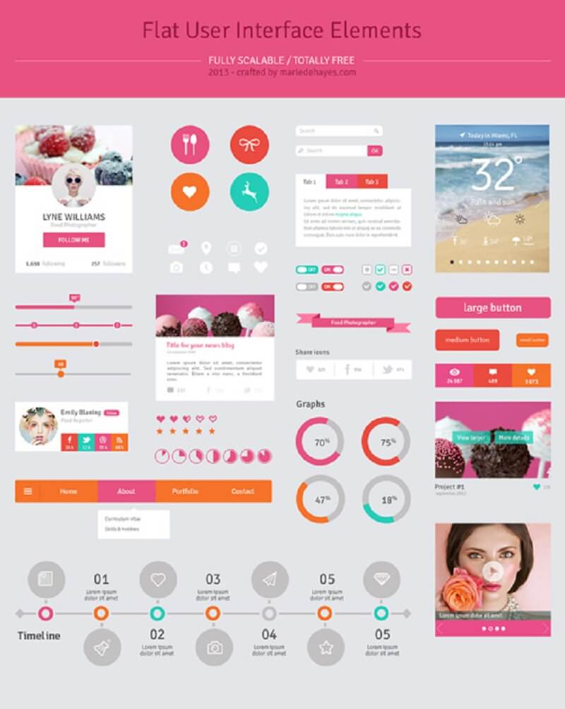 Freebie - Flat Design User Interface Elements