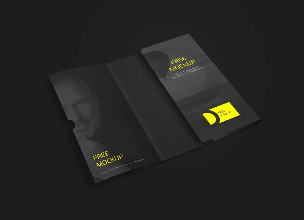 Folder with Business Card Mockup