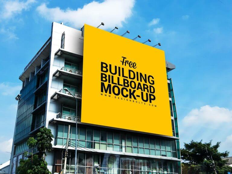 Huge Outdoor Building Billboard Mockup
