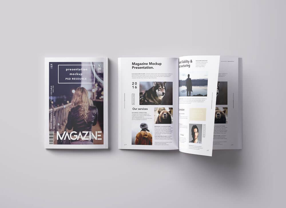 Overhead View Magazine Mockup
