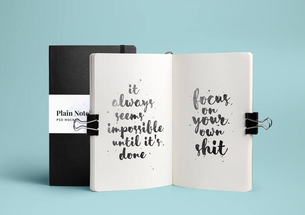 Open and closed Notebook Mockup