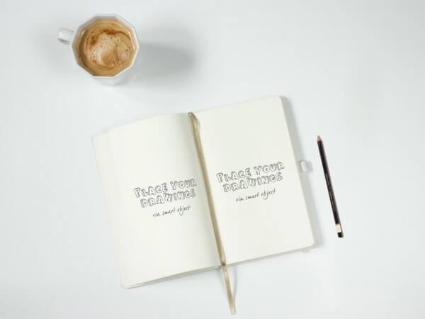 Notebook with Pencil Mockup