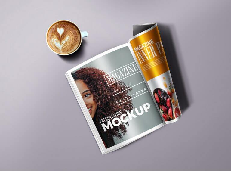 Magazine with Cup Mockup