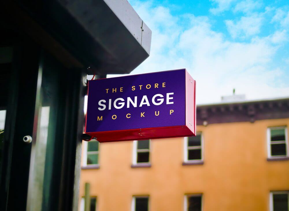 Outdoor Store Sign Mockup
