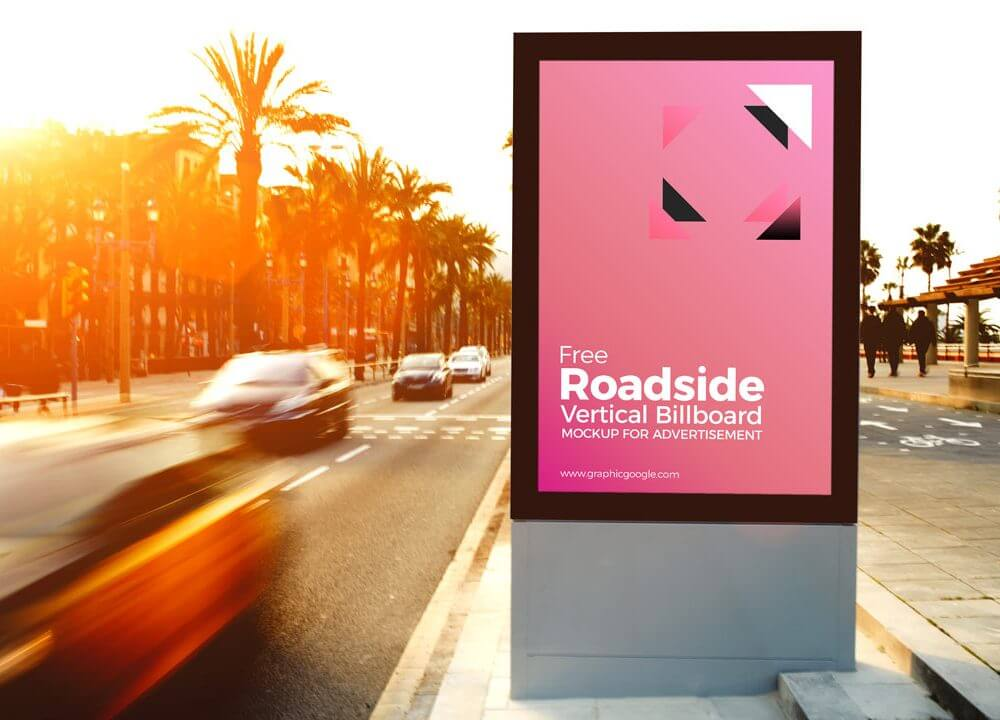 Sunny roadside Advertising Billoard Mockup