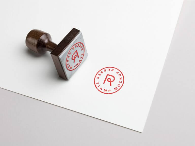 Rubber Stamp and Paper Mockup