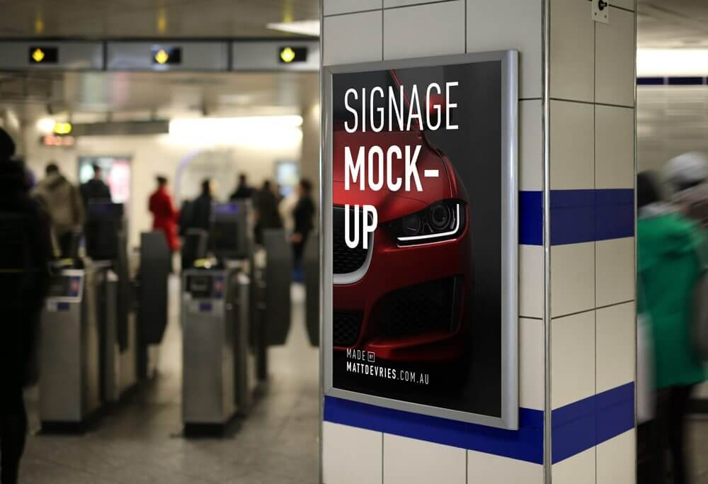 Subway Station Signage Mockup