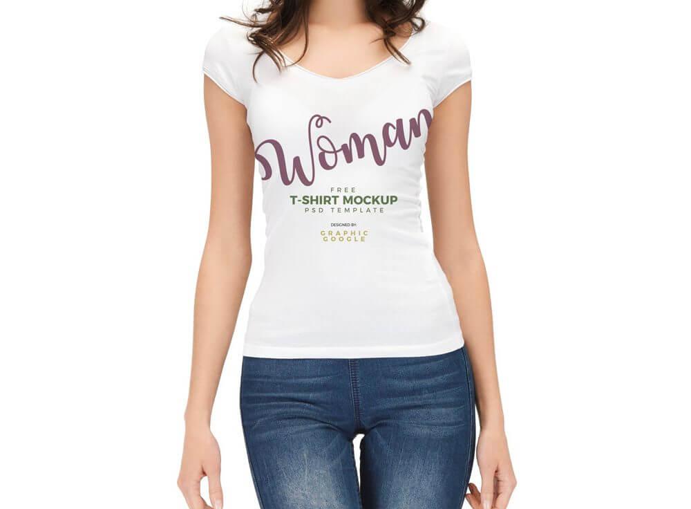 Woman wearing T-Shirt Mockup
