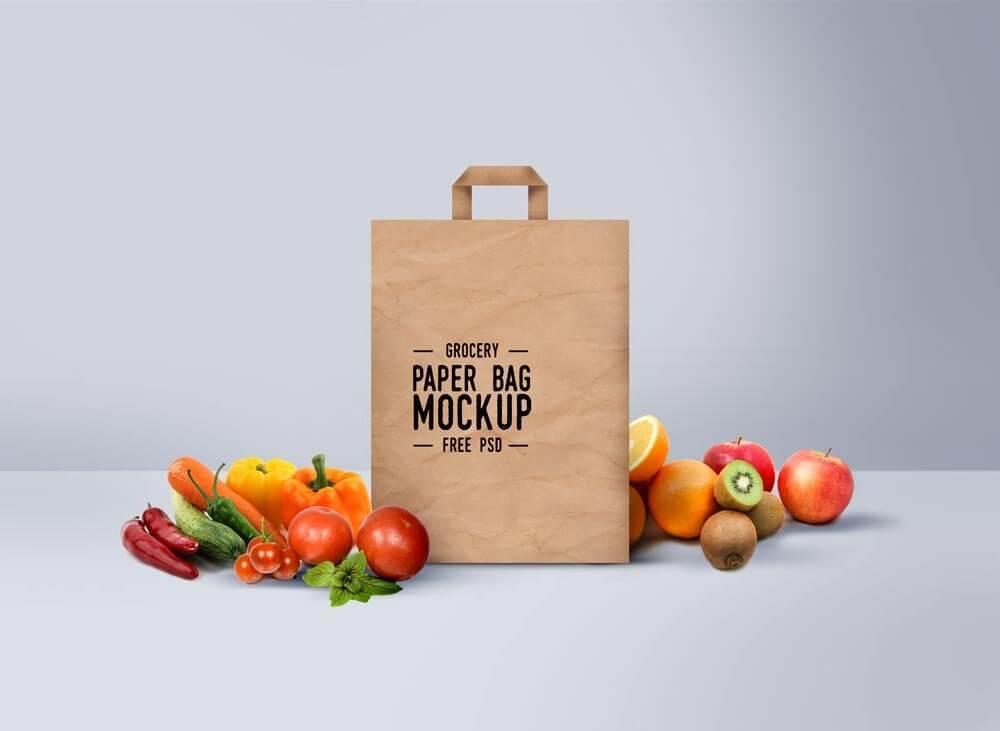 Grocery Paper Bag Mockup