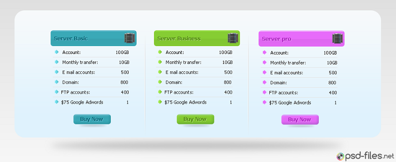Hosting Pricing Table PSD UI Element
