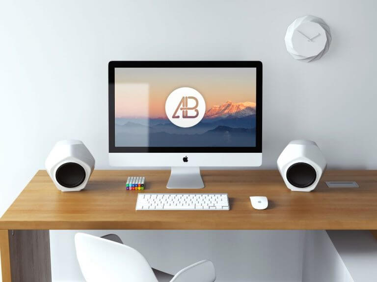 5k iMac Workspace Mockup