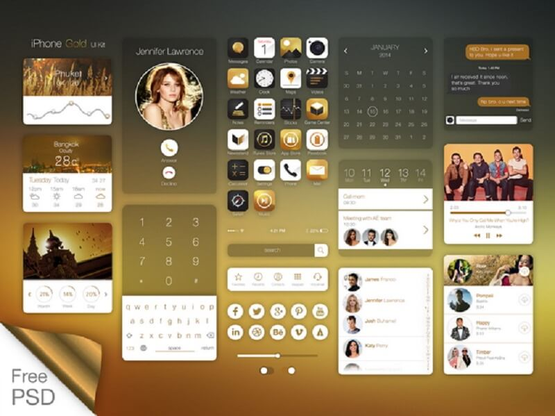 Ios7 On IPhone Gold Ui Kit.Psd